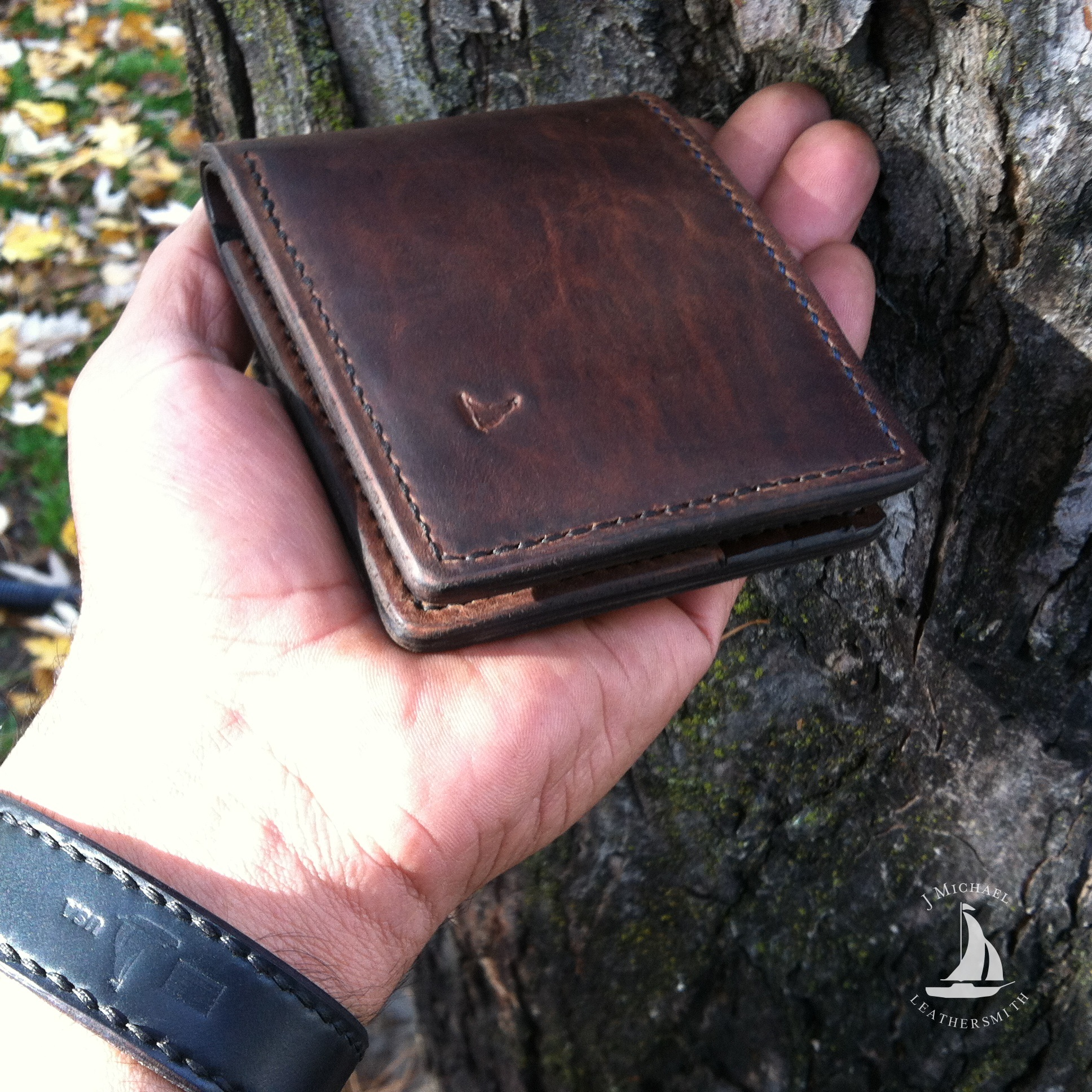 Brown shell cordovan bifold