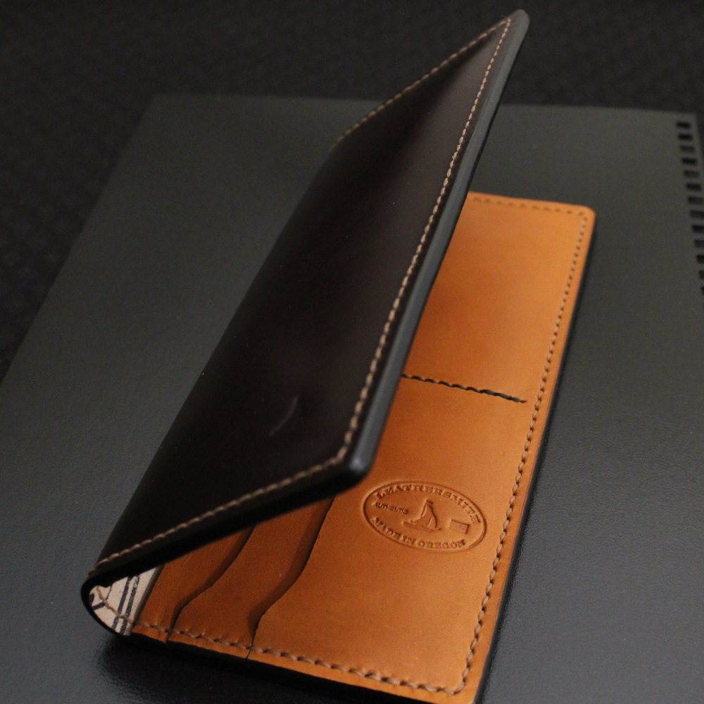 Shell cordovan checkbook wallet