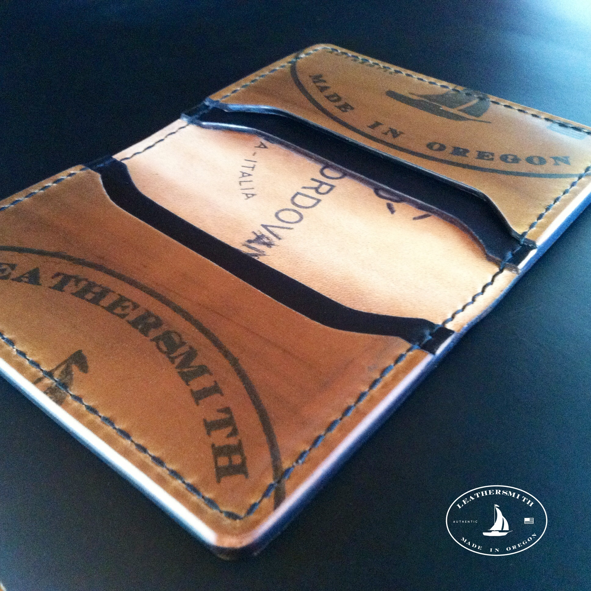 Shell cordovan minimalist leather wallet